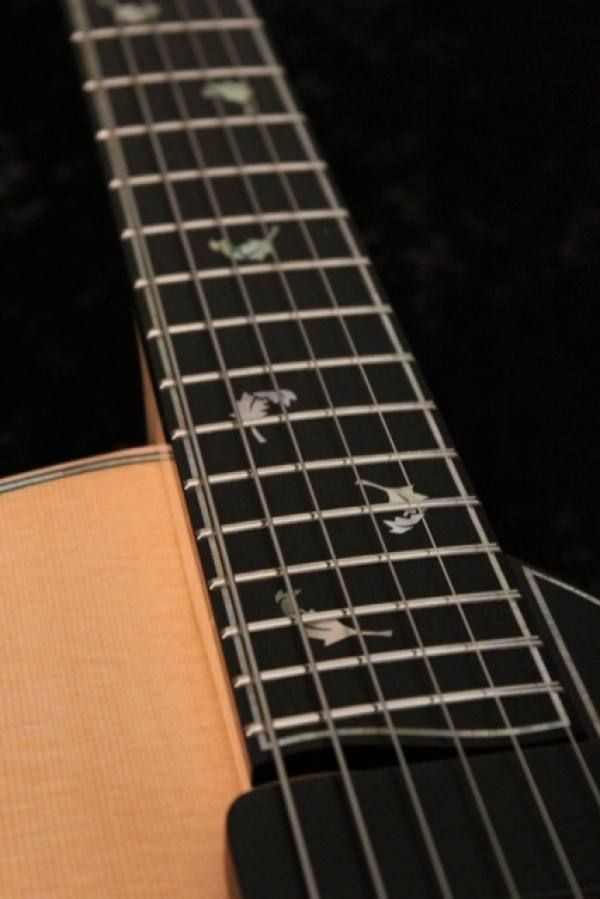 Falling Leaf Inlay Detail Natura Elite Archtop Guitar #archtopguitar #handmade