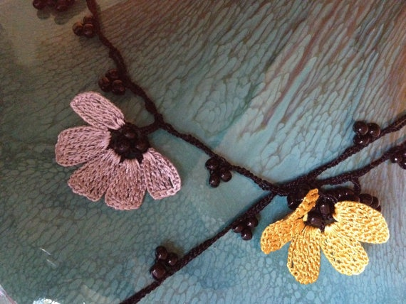 Crochet Necklace with Beads by FerrysWhiteLace on Etsy, $25.00