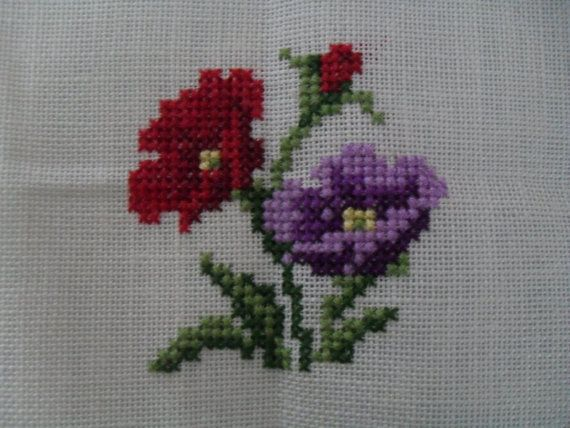 Flower cross stitch by Crystalcat1989 on Etsy