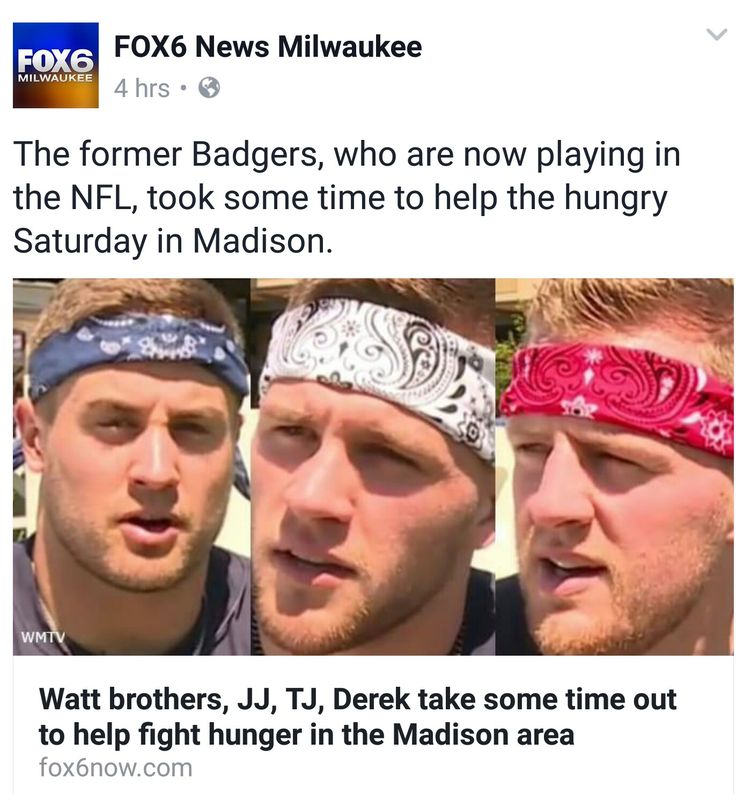 Fox 6 News Facebook  - 7.8.17 - Watt brothers supporting local food pantries - #DreamBigWorkHard #HuntGreatness #JustSomeKidsFromPewaukee #BadAssBadgers