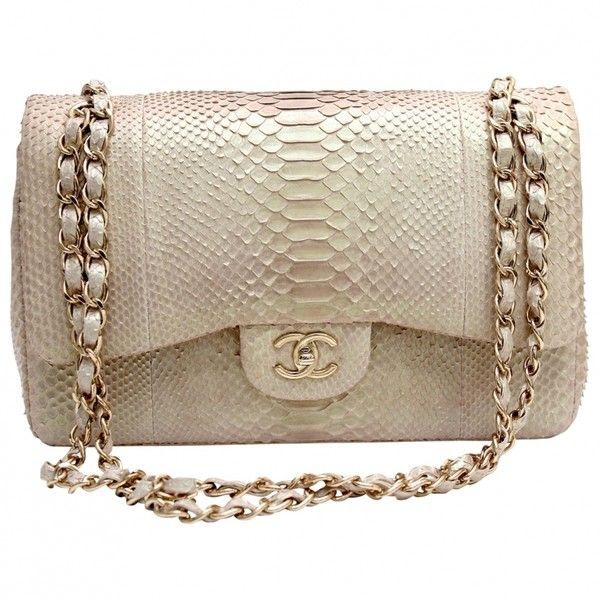 GOLD/BEIGE PYTHON TIMELESS CLASSIC JUMBO DOUBLE FLAP BAG CHANEL (€4.835) ❤ liked on Polyvore featuring bags, handbags, clutches, chanel, purses, bolsas, gold purse, chanel handbags, beige clutches and brown handbags