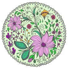 Flowers Tangles Swirls and Twirls for Coloring is a popular book with mandalas with a difference. All hand drawn designs. Click here for more information.