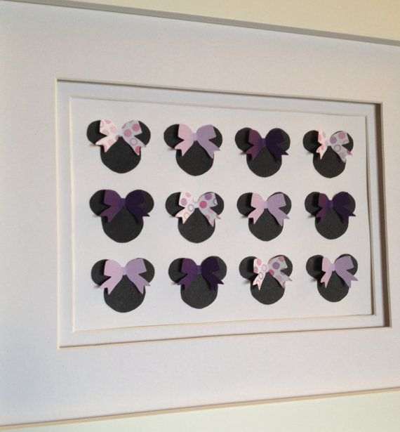 Minnie RESERVED CUSTOM Order: Lavender, Purple, Black, Pink Framed 3-D Minnie Mouse Baby Nursery and/or Children's Wall Art and/or Decor on Etsy, $40.00