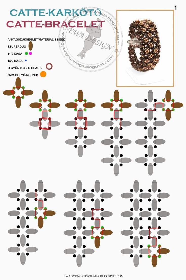 Ewa gyöngyös világa!:March 2014 - Catte bracelet pattern:  superduos and lighter beads & O beads on the top layer