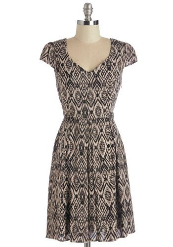 Ikat Take My Eyes Off of You Dress. At long last, lovely has arrived - in the form of this charmingly printed dress! #gold #prom #modcloth