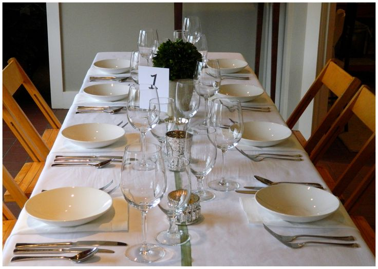 This set up includes our 8 ft banquet table set for 8 guests, white ...