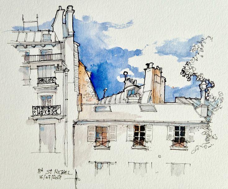 Paris les toits Bd St. Michel   by CROQUISNEUR