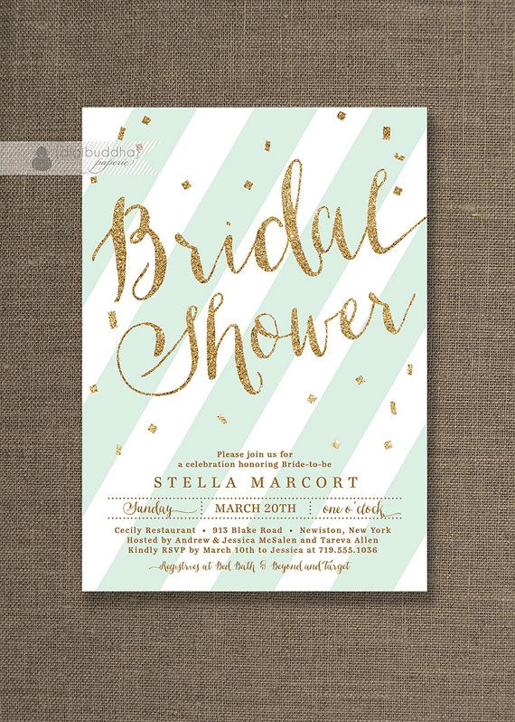 Mint & Gold Bridal Shower Invitation Glitter Pastel Mint Bridal Party Script Modern FREE PRIORITY SHIPPING or DiY Printable- Stella