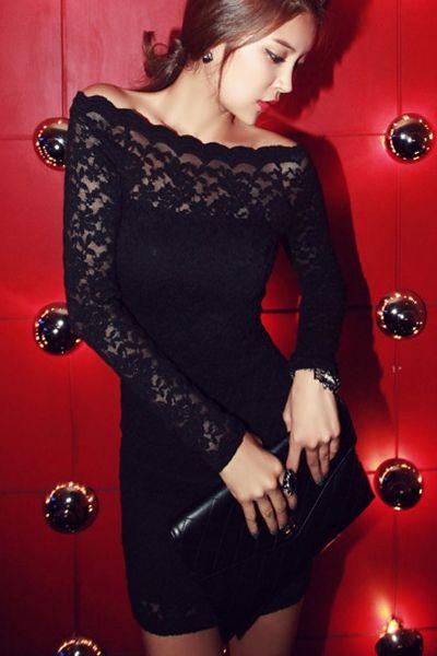 Sexy Black Off Shoulder Lace Dress