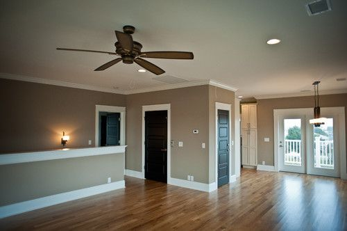 dark doors, white trim, oak floors