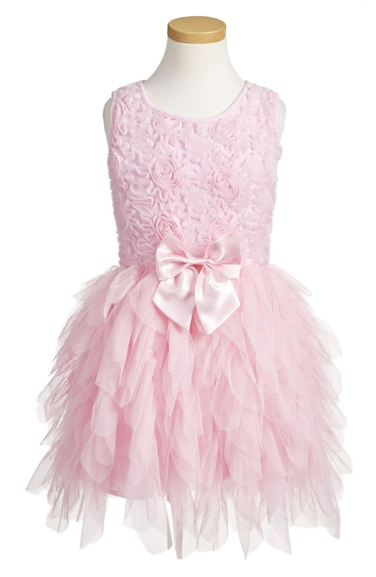 Pink Ribbon Rosette Sleeveless Tulle Flower girl Dress
