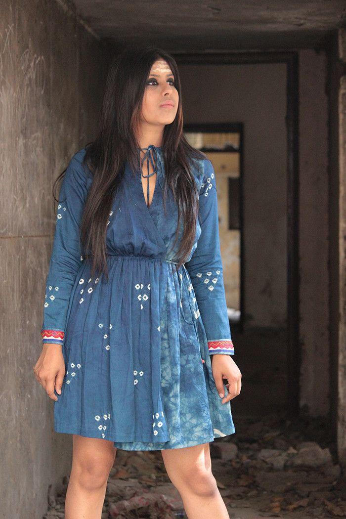 Indigo Bandhej Dress – The Loom