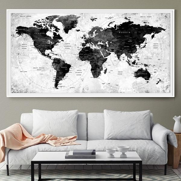 Large Watercolor Map World Push Pin Travel Cities Wall Black White Gray Home Decor Push