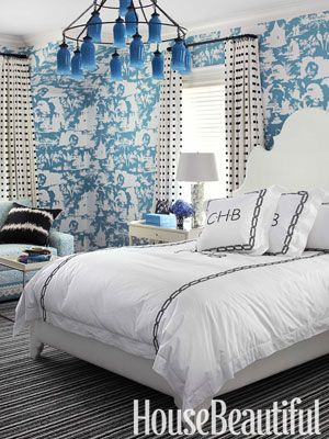 Blue and white patterns from House Beautiful