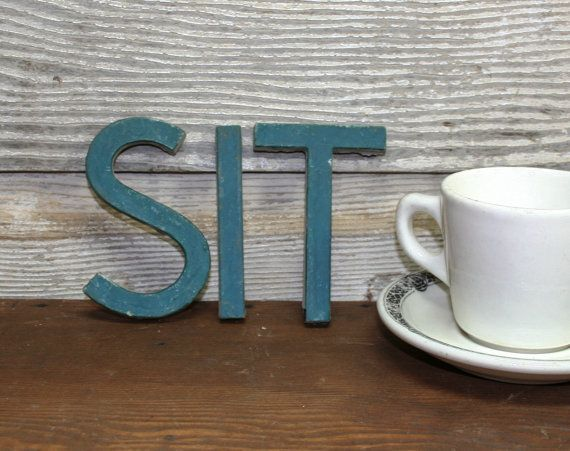 Just missing an H... Vintage Ceramic SIT Sign Letters by AuroraMills on Etsy, $20.00Apartments Therapy, Vintage Ceramics, Creative Creatures, Signs Letters, Ceramics Sitting, Sitting Signs, Inside Projects, Creatures Comforters