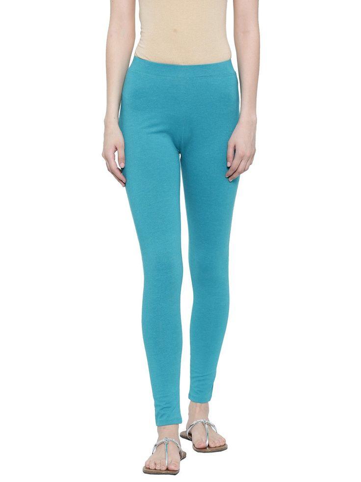 De Moza Ladies Yoga Legging Ankle Length Cotton Lycra Teal Melange  #palazzo #ss17 #fashion #womensfahion #onlineshopping #discount #womensfashion #tops #jogger #fashionblogger