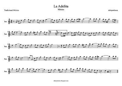 La Adelita partitura para Saxofón Alto Primero Canción Popular de la Revolución Mexicana