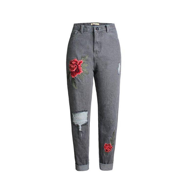 Купить товар2017 Boyfriend Повседневное свободные рваные дамы Джинсы для женщин негабаритных прямые джинсовые Брюки для девочек Розовое Вышивка отверстие Для женщин Мотобрюки в категории Джинсына AliExpress. 2017 Boyfriend Повседневное свободные рваные дамы Джинсы для женщин негабаритных прямые джинсовые Брюки для девочек Розовое Вышивка отверстие Для женщин Мотобрюки