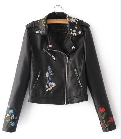 Women faux leather jacket floral embroidery Biker Jacket