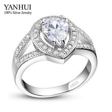 YANHUI Classic Water Drop Engagement Ring 100% 925 Sterling Silver Ring S925 Stamped Zircon Wedding Rings For Women YR355