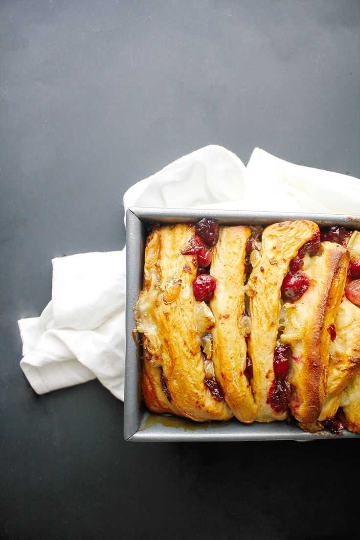 Caramelized Cranberry & Brie Pull-Apart Bread -- one of our favorite appetizers in breakfast form.