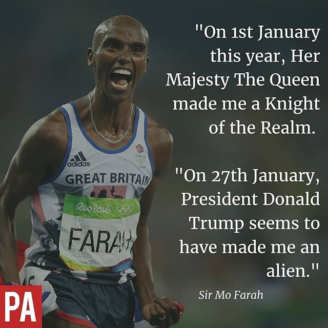 Sir Mo Farah has issued a powerful statement in response to @realDonaldTrump's Muslim travel ban - which could leave the four-time Olympic champion barred from seeing his family. #MuslimBan #Trump #Athletics #MoFarah