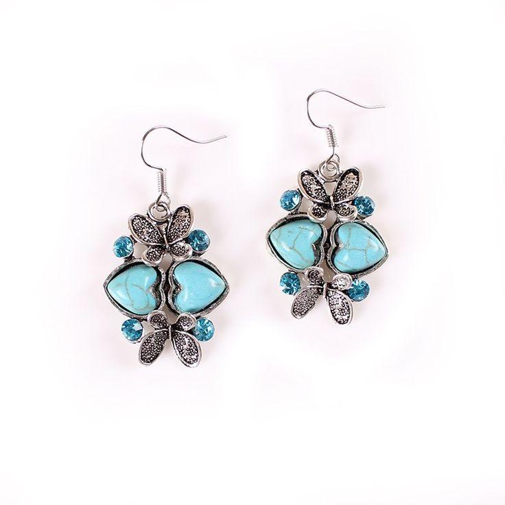 3x2.3cm Stylish Drill Decor Turquoise Heart Butterfly Shape Hook Earrings Women Jewelry Earring
