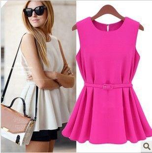 New Fahion 2014 Chiffon Sleeveless Blouses & Shirts Women O-Neck Casual Shirt Yellow Black White Rose Color S-XL L005 $7.69 - 8.99