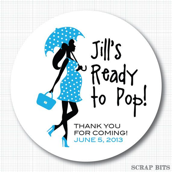 ready to pop stickers template - ready to pop pregnant lady with umbrella personalized