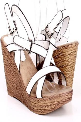 WHITE DOUBLE BUCKLE STRAPPY OPEN TOE WEDGES