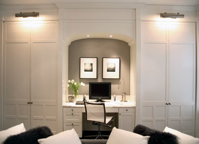 Make desk bigger, closets smaller. Like the hang-over library lighting atop closet. Can lights in nook.