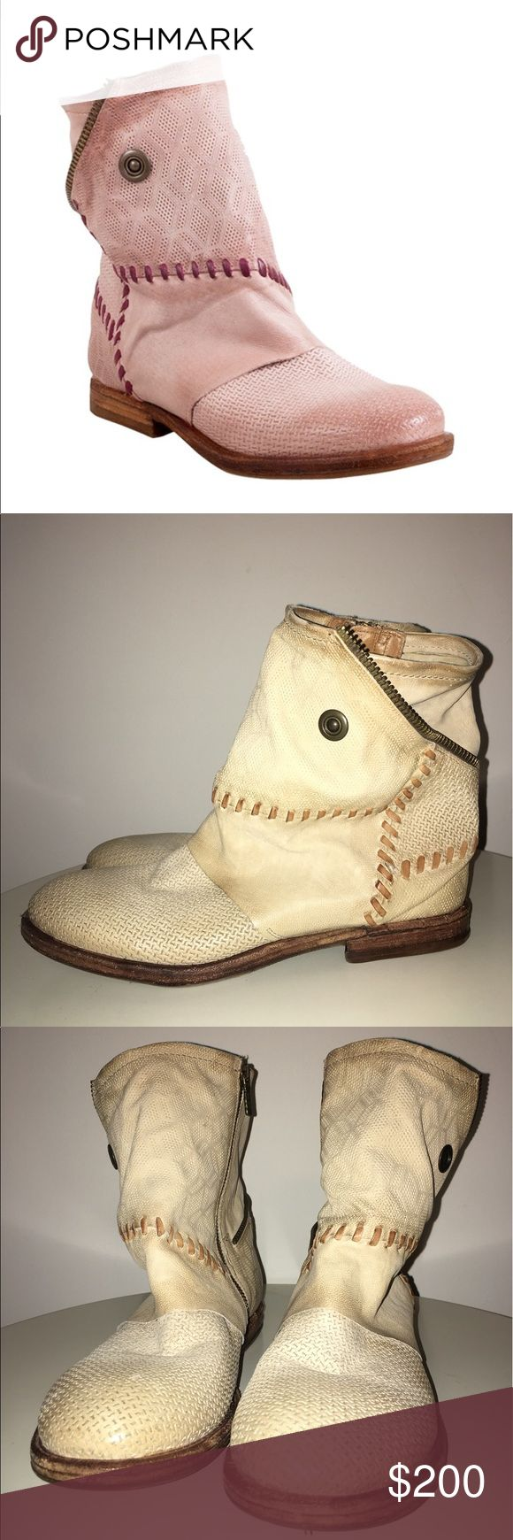 """Free People AS 98 Thompson Stitch Ankle Boots Lightly Worn!  Round burnished toe.   Textured leather construction.   Whipstitched and wrap-around zipper teeth detailed shaft.   Side zip closure.   Approx. 6.5"""" shaft height, 10.5"""" opening circumference.   Approx. 1"""" heel.   Leather upper and lining, rubber sole..   Color: Beige   Please Note The Stock Photos Are Being Used For Reference The Boots For Sale Are Beige Not Pink! AS 98 Shoes Ankle Boots & Booties"""