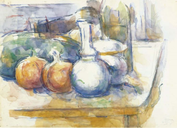 Paul Cezanne Still Life with Fruit, Carafe, Sugar Bowl, and Bottle