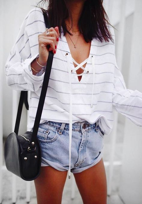 ::Stripes & jean shorts for summer::