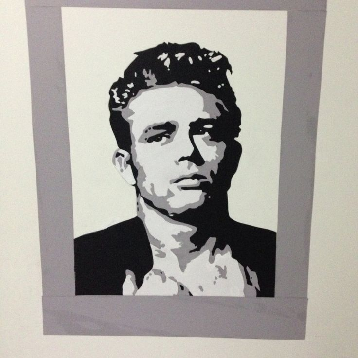 James dean cut out using card-stock paper, scissors, and rubber cement.  Mounted on a foam board then framed.