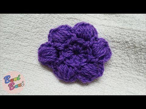 CROSETAT - Floare cu 6 petale puff-puff(Crochet flower)