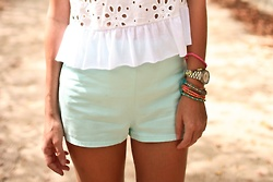 : Fashion 3, Mint Shorts, Spring Summer Fashion, Outfits Fashion Street Style, Eyelet Peplum, Spring Outfit, Style File