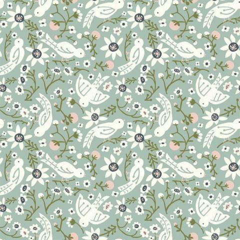 Birch Fabrics - Kristen Balouch - Folkland - Sweet Tweet in Mineral Organic by Bobbie Lou's Fabric Factory