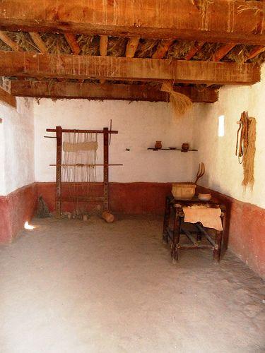 Reconstructed Iron Age archaic Roman Loom from Iberia, Valencia in Spain. Oppstadvev fra jernalderen, det arkaiske Romerriket i Iberia, Spania
