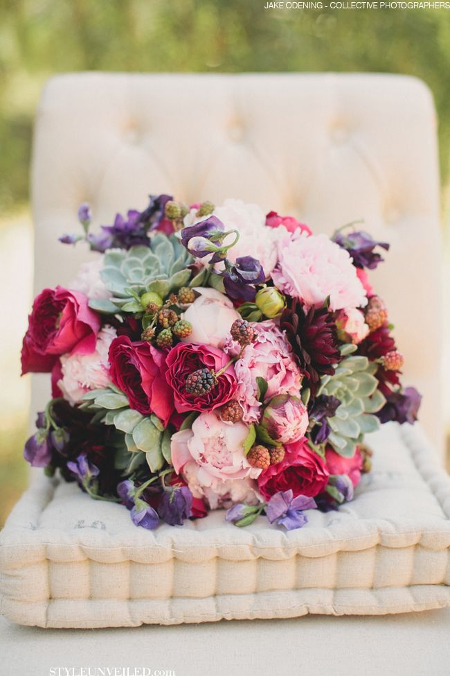 Peony, Rose & Succulent bouquet in Berry, Blush & Mint | | Utterly Romantic Berry and Greyed Jade Wedding Inspiration