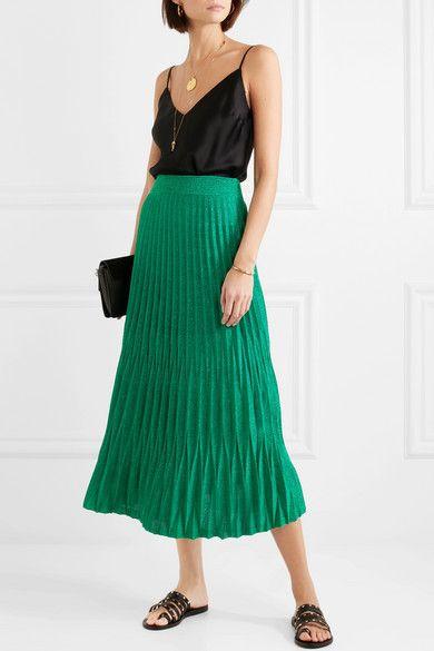 83ec94e03b Maje - Pleated metallic knitted midi skirt | Apparel | Midi skirt ...