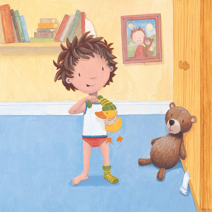 This cute #illustration by #illustrator #RussellJulian is from our #picturebook 'What should I wear Huggle Buggle Bear?' #ParragonArt #KidLitArt