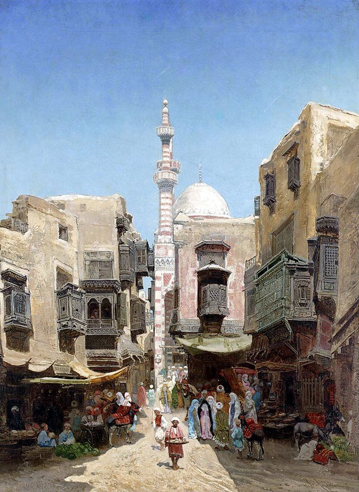 A Market In Cairo , 1885 By Godefroy De Hagemann - French, 1820 - 1877 Oil on canvas , 81cm X 60cm
