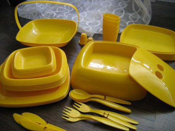 Vintage Mod Yellow Picnic Set. 1970's Modern, Panton era. Mid century. 34 piece, Yellow Plastic.