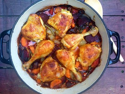 Belleau Kitchen: rosemary and beetroot roasted chicken thighs