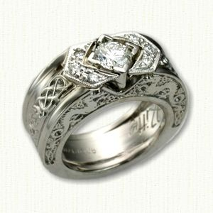 dragon 12 custom platinum celtic dragon knot engagement ring adorned with diamonds - Norse Wedding Rings