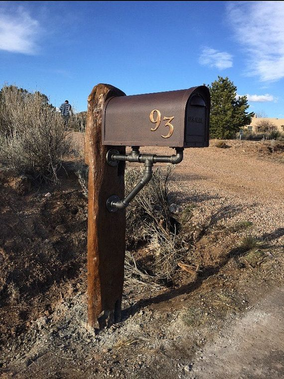 Black Iron Pipe Mailbox Bracket USA Pipe by iReclaimed on Etsy