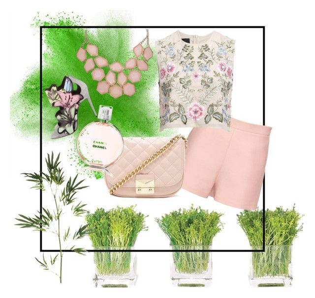 """""""Green in love with Pastel Pink"""" by ipeksell on Polyvore featuring NDI, Valentino, Needle & Thread, Pierre Hardy, Pier 1 Imports, Forever 21 and Chanel"""