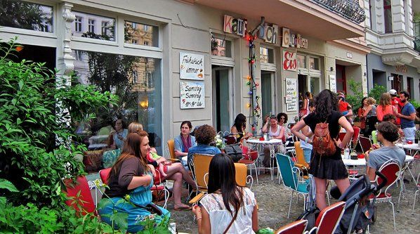 Alan Feldstein snapped this lively patio in front of Kauf Dich Glucklich waffle house, a much recommended spot in Berlin.