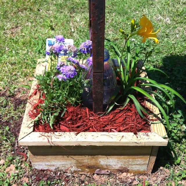 planting flowers around mailbox 1